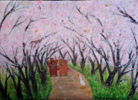 近所の名もない桜の並木道